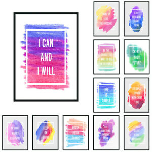 Colorful Motivational Quotes Poster Inspirational Print Wall Art Home Décor