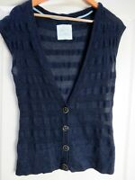FAT FACE Navy Waistcoat 10 Tank Top Wool Cotton Mix Sleeveless Jumper Cardigan