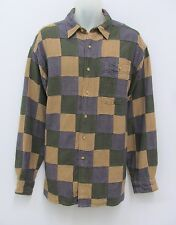 ORVIS SHIRT PATCHWORK STYLE HOUNDSTOOTH PURPLE TAN GREEN SIZE L