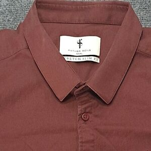 Father Sons Super Slim stretch short sleeve Dress Shirt XXXL Maroon Button Up
