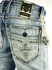 """$220 Mens Rock Revival Jean """"Lowry"""" Leather Insert Faux Pocket Straight 34 X 27"""