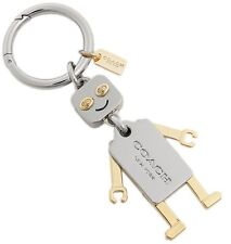 COACH F65429 Robot Silver Gold Key Ring Charm FOB & Dust Bag Gift Box & Rcpt $60