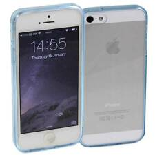 5 x LIGHT BLUE iPHONE 5 /5S APPLE HARD BACK CASES  CLEAR TPU SILICONE BUMPER M35