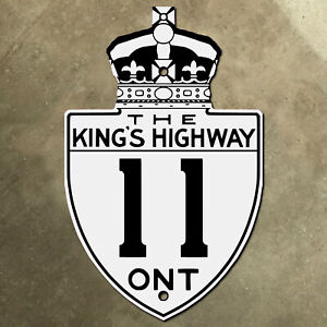 Ontario King's Highway 11 route marker road sign Canada 1930s Thunder Bay