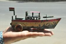 Vintage Wind Up Early Handpainted Unique Tin Boat Toy, Germany?