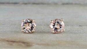 14k Rose Gold Over 1.00 Ct Round Cut Peach Morganite Women's Stud Earrings