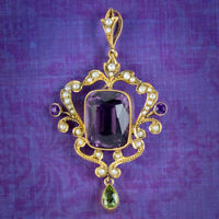 ANTIQUE EDWARDIAN SUFFRAGETTE AMETHYST PENDANT 9CT GOLD CIRCA 1910