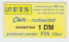 Local note bons coupon - 1 DM German Mark 1994nd, FIS VITEZ BOSNIA ex Yugoslavia