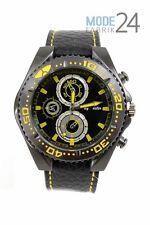 Herrenuhr Jay Baxter Lederarmbanduhr Watch Uhr Schwarz Gelb Drehlünette Chrono L