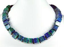 Schöne Edelsteinkette aus Azurit-Malachit in Würfelform -azm32k-642