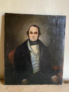 Best Early Antique Hand Painted Gentleman Oil On Canvas Portrait AAFA Folk Art
