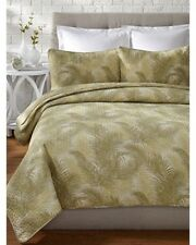 TOMMY BAHAMA Tossed Palm Tree Tropical Green Cream 3pc KING QUILT SET