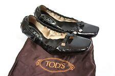 TOD'S BALLERINA FLATS BLACK PATENT LEATHER , EUR37.5 UK4.5