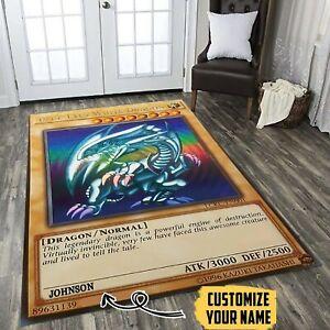 Dragon card Rug Carpet Blue Eyes White  Custom Name Any room