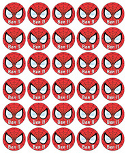 30x Spiderman Logo Personalised Cupcake Toppers Edible Wafer Paper Fairy Cakes