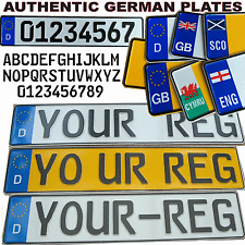 Par De Metal Alemana euro presionado auténtico número placas en relieve 3D planteó VW Dub