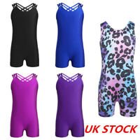 UK Kids Girls Yoga Leotard Ballet Dance Jumpsuit Active Bodysuit Gym Costumes