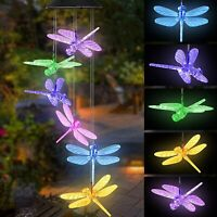 Dragonfly LED Color Changing Power Solar Wind Chimes Yard Home Garden Decor Lamp
