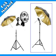 "Photo Studio kit 4in1 E27 socket+195cm light stand+33 "" Gold & Black Umbrella"