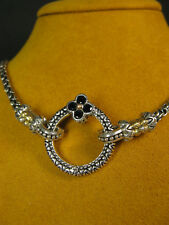BARBARA BIXBY CIRCLE RING CONNECTOR FLOWER BLACK SAPPHIRE NECKLACE CHAIN ACSRY