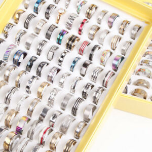 50pcs mix desgin Women men's Stainless steel rings Wedding jewelry Wholesale
