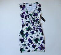 NWT Jones New York Purple Watercolor Floral Cowl Ruffle Jersey Sheath Dress 8
