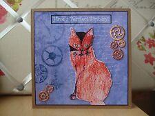 Handmade Cat Steampunk Birthday Card Artwork Charms Blue Kitten Charms