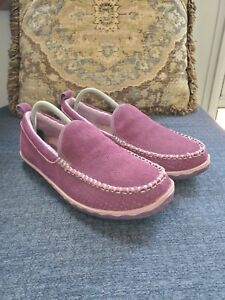 LL Bean Women's Suede Moccasin Slippers. Eggplant. Size 11