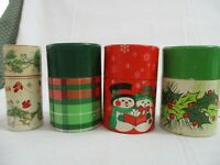 "Hallmark 4 Christmas decorated containers each with  2"" Wooden Matches new"