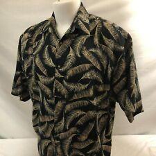 Bamboo Cay Mens Hawaiian Aloha Shirt XL Black  Floral Leaves 100% Cotton Sateen