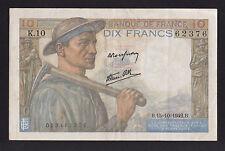 1942 France 10 Francs paper money bank note WWII