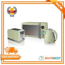 Swan Retro 1.5 Litre Jug Kettle, 2 Slice Toaster & 800W Digital Microwave Green