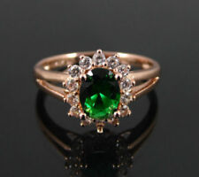 ROSE GOLD PLATED RING GREEN CUBIC ZIRCONIA SOLITAIRE AND ACCENTS UK SIZE Q US 8