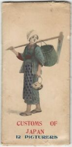 1900s 'Customs of Japan - 12 Picturers' Small Color Print Set Japanese Figures