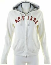 ABERCROMBIE & FITCH Womens Hoodie Sweater Size 16 Large White Cotton  KA22