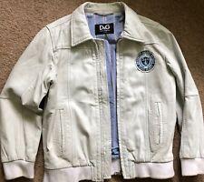 D&G Dolce & Gabbana Junior Boys Leather bomber Jacket, 7/8 years, Ivory