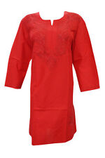 INDIAN ETHNIC LONG TUNIC RED EMBROIDERED COTTON KURTI BLOUSE FOR WOMEN'S XXL