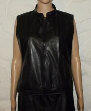 Black Look Leather TUNE IN Zip Fitted Biker Hip Length Waistcoats Size L Grunge