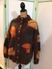 Vintage Handknit Fuzzy  Mohair Brown Cardigan Sweater M/L