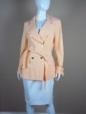$695 St. John Jacket Size 6 Apricot Double Breasted Gold Buttons Peach New Coat