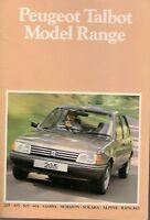 Peugeot Talbot 1983-84 UK Brochure Samba Horizon Alpine Rancho 205 305 505 604