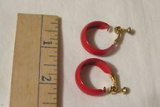 "Pre-Owned Red Shiny Metal Earrings Not Pierced 1"""
