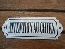 PLAQUE EMAILLEE ATTENTION AU CHIEN EMAIL VERITABLE 800°C Fabriquée France NEUVE