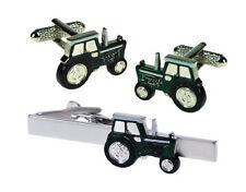 Green Farming Tractor  Cufflinks & Tie Bar Set NEW in BOX  15907