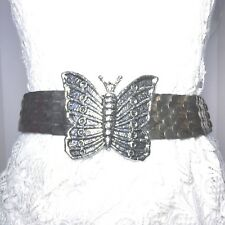 Women's Vintage Silver Stretch Metal Belt Butterfly Buckle C. 80's SZ Small/Med