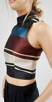 Ted Baker Josla High Neck Blouse Crop Top Antique Stripe Retro Boho Size 0 Uk 6
