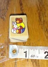 TINY TEDDY BEAR HUGGING BUNNY,unknown maker,rubber stamp,wood mount
