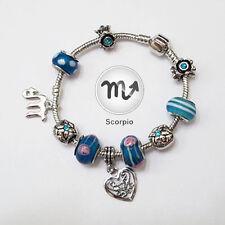 Stylish Scorpio Zodiac Silver Blue Murano Teal Rhinestone Heart Charm Bracelet