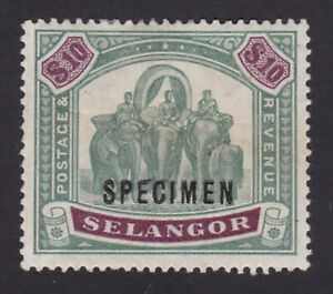 Selangor. SG 65s, $10 green & purple, specimen. Fine mounted mint.