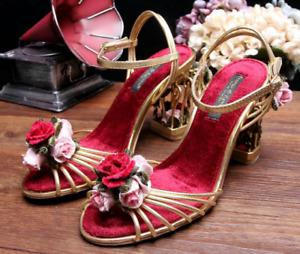 Ladies Flowers Shaped Heels Open Toe Sandals Pumps Slingbacks Ankle Strap Shoes